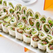 Plate of many mini bite size sandwich appetizers Stock Photos