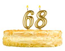birthday cake with candles number sixty eight - stock photo