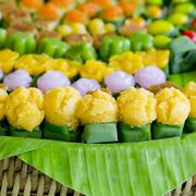 Thai sweets, or Khanom Thai, have unique, colorful appearance and distinct Stock Photos