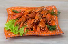 Boiled crayfish Stock Photos