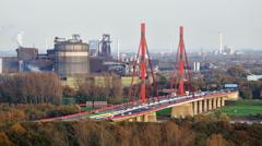 Motorway Bridge And Steel Industry Stock Footage
