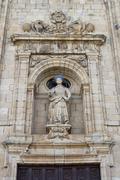 St Nicholas facade in Villafranca del Bierzo. - stock photo