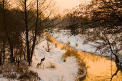 Sunset above the small river - stock photo