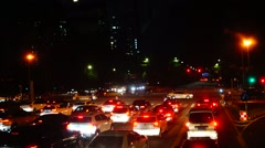 Shenzhen, China: the road traffic landscape at night Stock Footage
