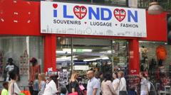 Souvenir shop in London - stock footage