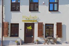 Exterior of the Moroccan restaurant in Vilnius, Lithuania. Stock Photos