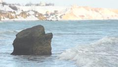 Wave on stone. Slow motion. Stock Footage