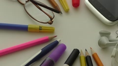 School and office supplies over office table Stock Footage