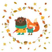 Cute fox and bear walking in wreath of autumn leaves Stock Illustration