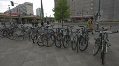 Bicycle parking station, Berlin Stock Footage