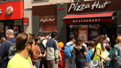 Queue in front of Pizza Hut, London Stock Footage