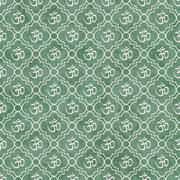 Stock Illustration of Green and White Aum Hindu Symbol Tile Pattern Repeat Background that is seaml