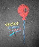 Stock Illustration of Chalk drawing of red balloon