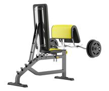 gym arm curl bench with barbell isolated on white background - stock illustration