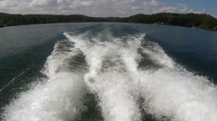 Rear POV (Point of View) of Boat Moving in Lake Stock Footage