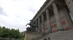 Beautiful equestrian statue in front of Altes Museum, Berlin Stock Footage