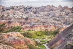 Stock Photo of Yellow Mounds Landscape In The Badlands