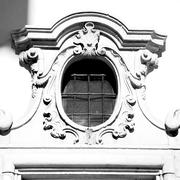Antique contruction in italy europe marble and rose window the wall Stock Photos