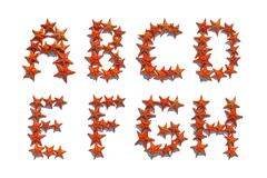 Alphabet letters made of real starfish A to H - stock photo