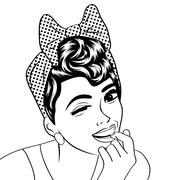 Pop art cute retro woman in comics style in black and white Stock Illustration
