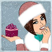 elegant young and happy woman in winter, retro Christmas card - stock illustration