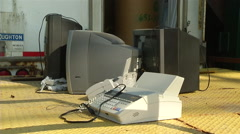 Lonely Old Fax Machine and Television Technology Garbage - stock footage