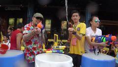 Thai New Year in Bangkok - Songkran on Khao San Road - stock footage