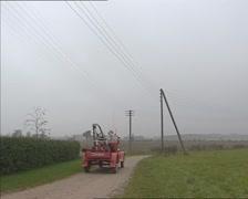 Classic truck fire brigade in rural landscape - off camera Stock Footage