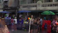 Thai New Year in Bangkok - Songkran on Khao San Road - stock footage