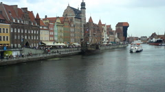 Motlawa river and the old city of Gdansk with medieval port crane Stock Footage