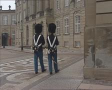 Palace guards marching - off camera - Amalienborg palace COPENHAGEN Stock Footage