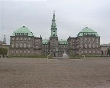 Christiansborg Palace + inner courtyard COPENHAGEN, DENMARK Stock Footage