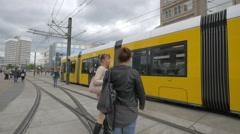 Tram arriving in Alexanderplatz, Berlin Stock Footage
