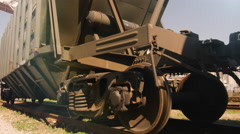 Shot of Moving Freight Train Wheels - stock footage