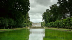 Water mirror at a castle garden, France Stock Footage