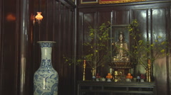 Monastery altar  in Ho Chi Minh City, North Vietnam Stock Footage