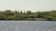 The boat about the river bank Stock Footage