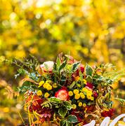 beautiful autumn bouquets of flowers - stock photo