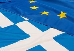 EU and Greece Flags - stock photo