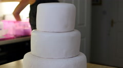 Time lapse finishing off a wedding cake 4K Stock Footage