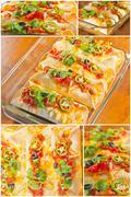 Enchilada Casserole Collage - stock photo