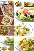 Healthy Salad Collage Stock Photos