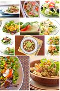 Healthy Salad Collage Stock Photos