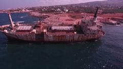 Aerial footage of the old Edro III wreck ship of in Pegeia area, Cyprus - stock footage