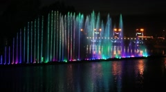 Musical fountain Roshen with colorful illuminations at night. Vinnitsa, Ukraine Stock Footage
