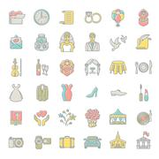 Modern flat linear colorful vector wedding icons Stock Illustration