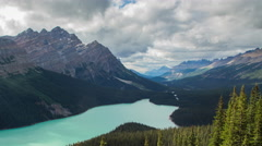 Peyto Lake, Banff National Park zoom out time lapse 4k - stock footage