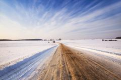 The winter road Stock Photos