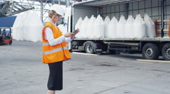 Woman Manager at Loading of Goods into Truck Stock Footage