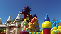 Balloon playground: dragon and castle Stock Footage